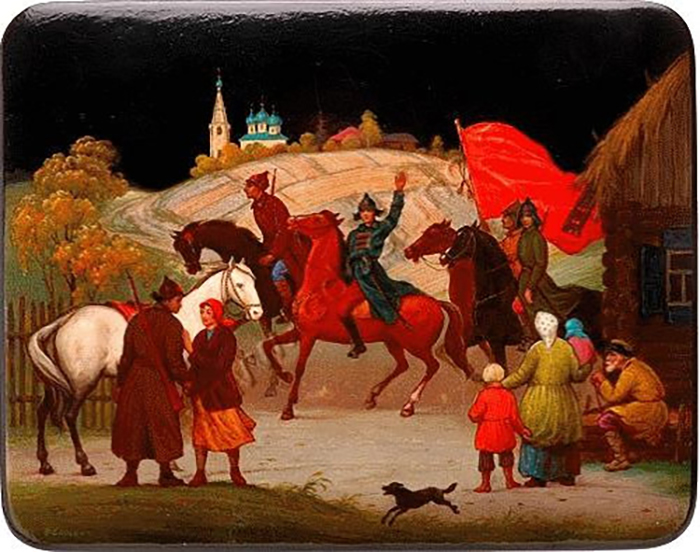 В федоскинской росписи отразилась русская история. Миниатюра Советская власть в селе