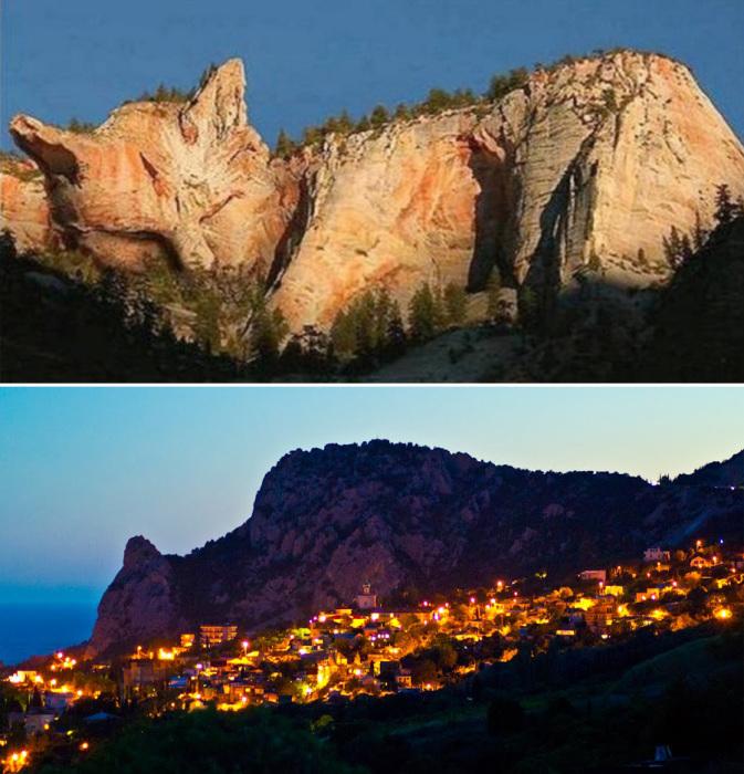 Гора-кошка действительно находится в Крыму, но для того, чтобы увидеть в ней спящее животное, придется подключить фантазию и найти нужный ракурс. Все остальное – фотомонтаж.