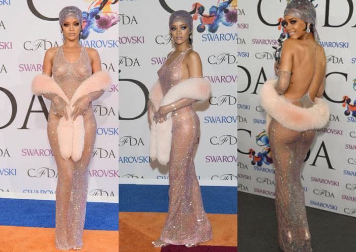 Рианна (американская певица и актриса) на церемонии вручения премии Fashion Award, 2014 г.