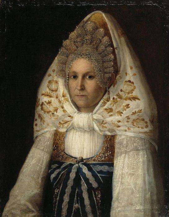 Неизвестный художник, «Портрет молодой  купчихи»