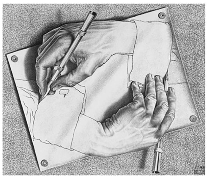 «Рисующие руки», литография, (1948 г.)