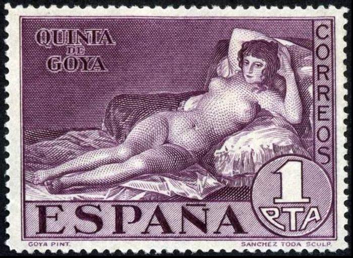 Почтовая марка «Маха обнаженная», 1930 год