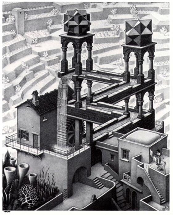 Литография «Водопад» (1961 г.) основана на «невозможном треугольнике» Пенроуза.