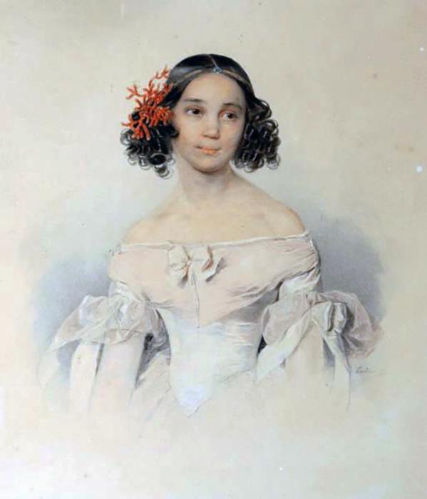 Дочь Ф.Толстого, Сарра (умершая в 17-летнем возрасте) Акварель П. Ф. Соколова