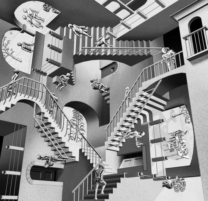 В картине «Относительность» (1953 г.) действуют три перпендикулярных друг другу источника гравитации.