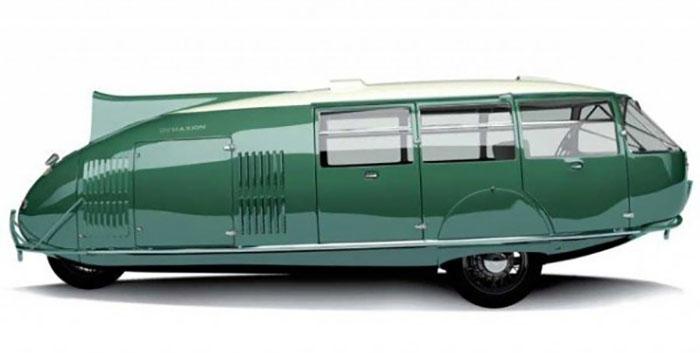 Еще один проект Ричарда Фуллера, опередивший свое время, - трехколесный автомобиль (Dymaxion-Auto, DymaxionCar). Концепт вмещал одиннадцать человек и мог разгоняться до 120 миль в час.