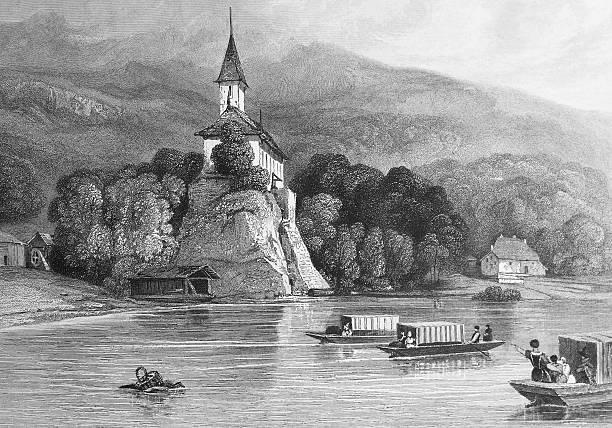 Озеро в Швейцарии, гравюра