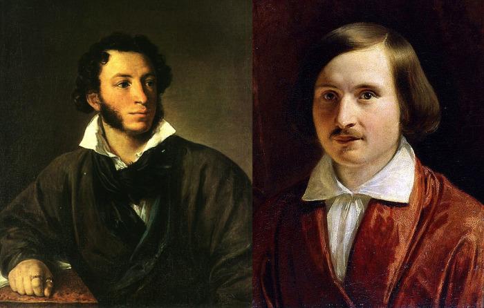 А.С. Пушкин, портрет работы В.Тропинина и Н.В. Гоголь, портрет работы Ф. Моллера