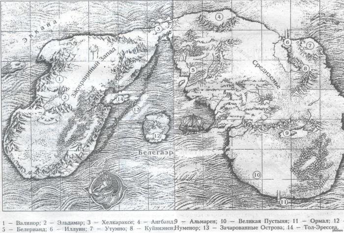 Карта Арды (по Толкину)