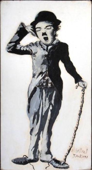 Майкл Джексон любил изображать на своих картинах Чарли Чаплина. / Фото: www.vev.ru