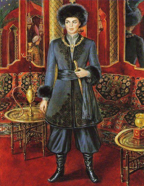 Барон де Реде в костюме принца Могула, созданном Пьером Карденом, рисунок Александра Серебрякова. / Фото: www.liveinternet.ru