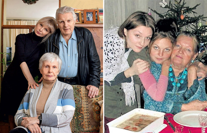 Юрий Назаров с женой и дочерью. Татьяна Разумовская с дочерьми Варей и Марфой.