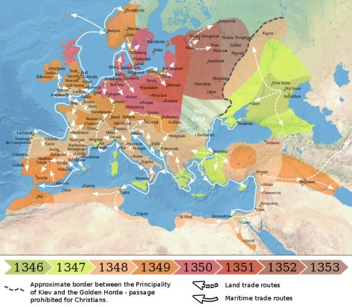 Распространение чумы в Европе и на Ближнем Востоке в 1346—1353 годы. / Фото: www.twimg.com
