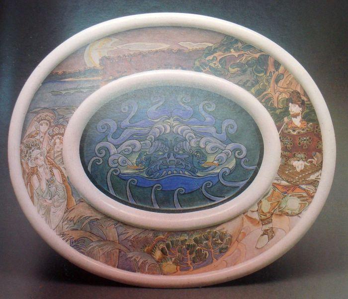 Блюдо «Садко», роспись Михаила Врубеля. / Фото: www.wikimedia.org