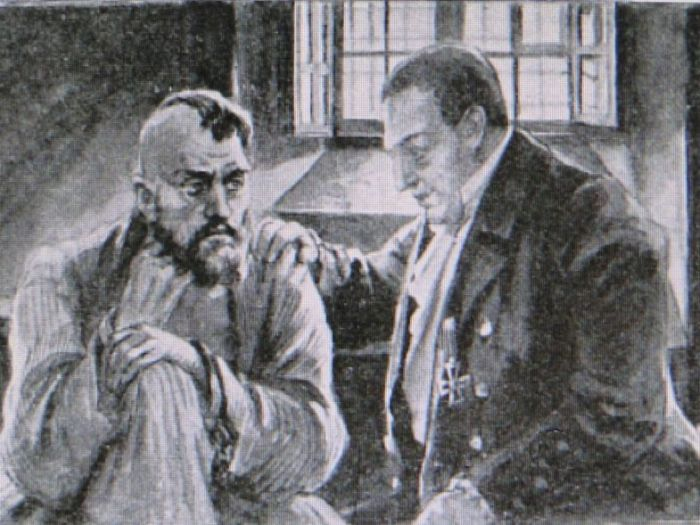Фёдор Петрович Гааз навещает заключённого. / Фото: www.blogspot.com