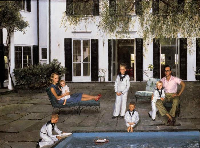 Берти Ч. Форбс с женой и детьми. Картина Джона КоÑа, 1956 год. / Фото: www.forbes.ru