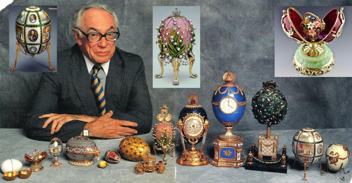 Малкольм Форбс со своей коллекцией пасхальных яиц Карла Фаберже. / Фото: www.blogspot.com