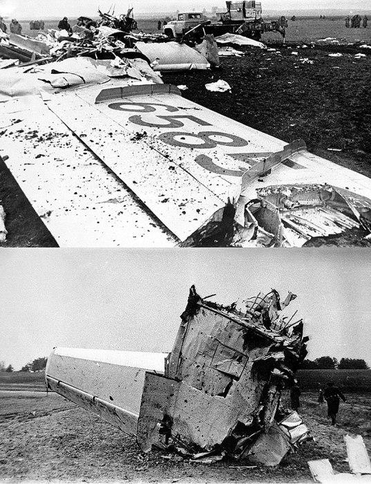 Обломки Ту-134 (вверÑу) и Ан-26 (внизу). / Фото: www.wikipedia.org