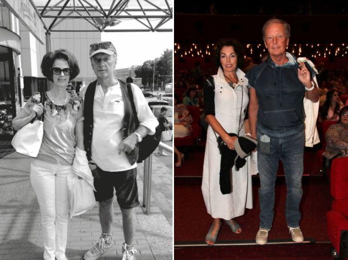 Михаил Задорнов с первой женой Велтой (слева) и со второй женой Алёной.