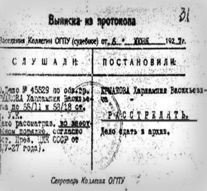 Выписка из протокола о расстреле. / Фото: www.казаки-россии.рф