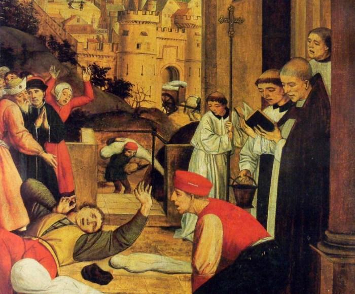 Святой Себастьян молится за жертв Юстиниановой чумы. Картина конца XV века. / Фото: www.factinate.com