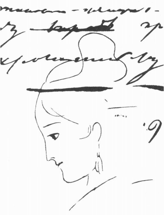 Анна Керн. Рисунок Александра Пушкина, 1829. / Фото: www.yandex.net