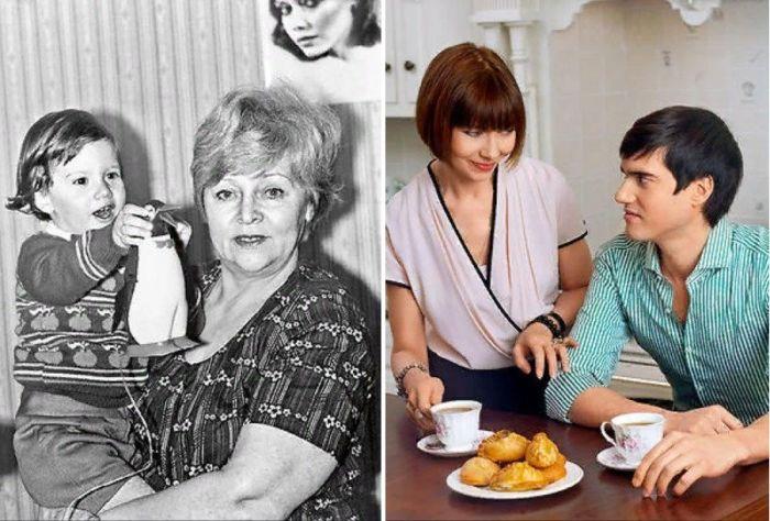 Мама Елены Метёлкиной с внуком, Елена Метёлкина с сыном Александром. / Фото: www.7days.ru