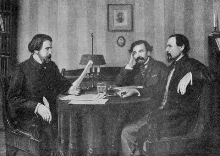 Тургенев читает новое произведение Панаеву и Некрасову. / Фото: www.yarwiki.ru