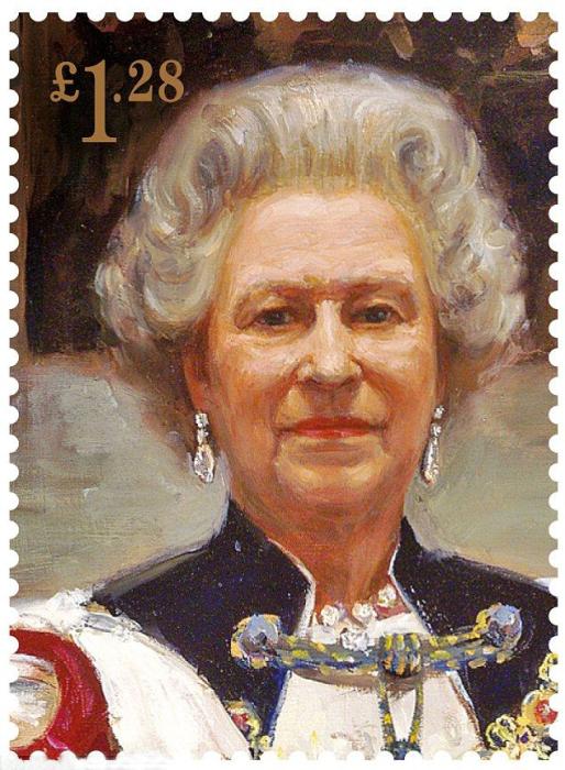 Парадный портрет Елизаветы II, воспроизведённый на юбилейных марках. / Фото: www.pinimg.com