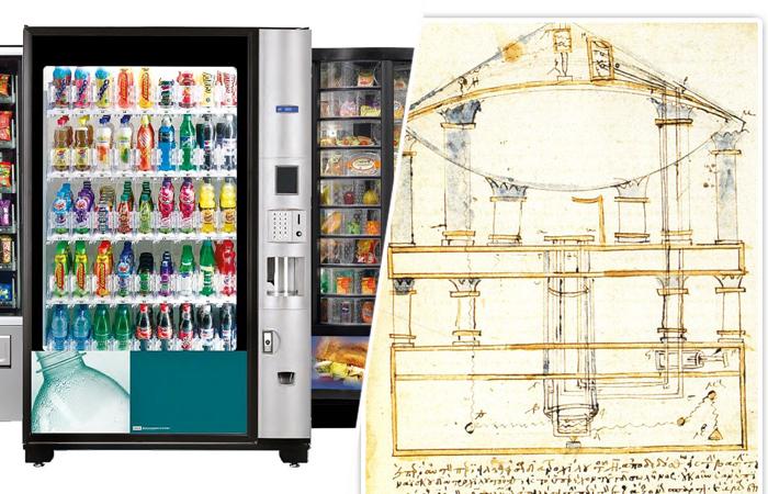Современный торговый автомат и чертёж Герона.