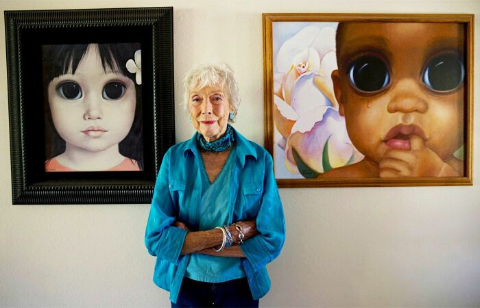 Маргарет Кин и её картины. / Фото: www.pinimg.com