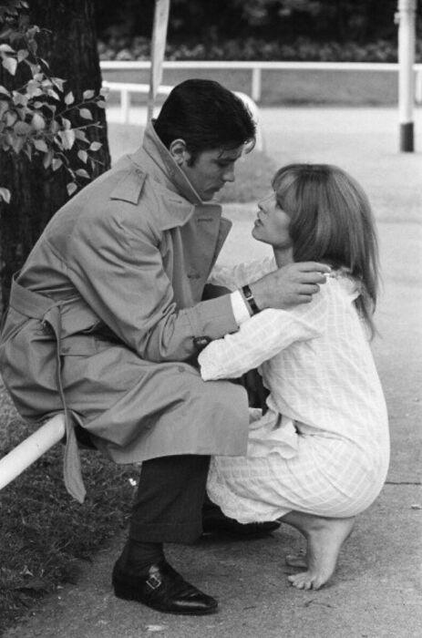 Ален Делон и Натали на съёмках фильма «Самурай». / Фото: www.pinterest.pt