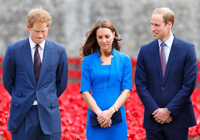 Принц Уильям, Кейт Миддлтон и принц Гарри. / Фото: www.hellomagazine.com