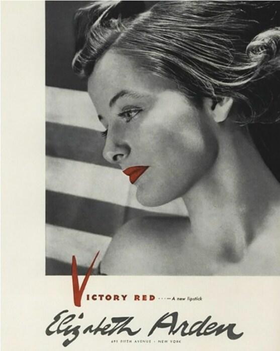 Архивный плакат Elizabeth Arden с рекламой помады во время Второй мировой войны. / Фото: www.validem.ru