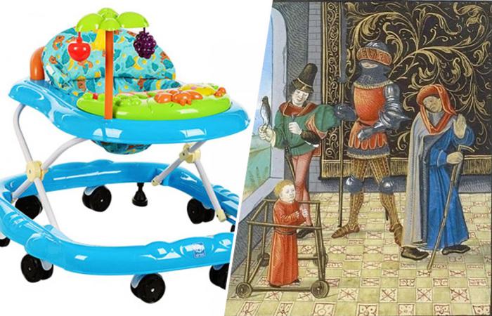 Детские ходунки. Современные и изображённые на средневековой миниатюре.