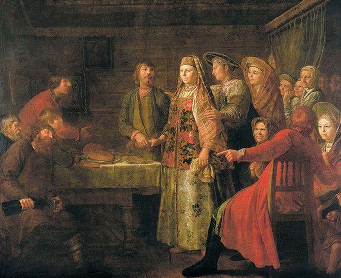 Михаил Шибанов. Празднество свадебного договора. 1777 год. / Фото: www.arzamas.academy