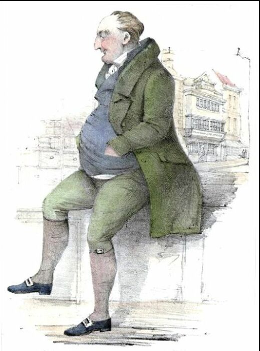 Джемс Вуд перед Gloucester Old Bank, гравюра Джорджа Роу. / Фото: www.wikipedia.org