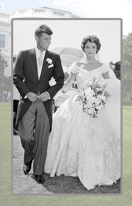 Джон и Жаклин Кеннеди в день свадьбы.