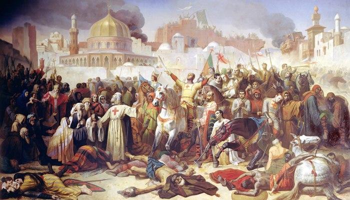 Завоевание Иерусалима крестоносцами, 15 июля 1099. ( Эмиль Синьоль, 1847 г.)./wikimedia.org