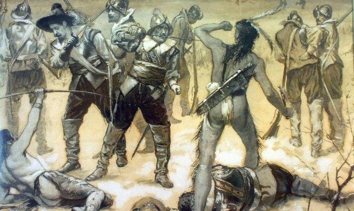 Война англичан с индейцами./Фото: https://www.wikiwand.com