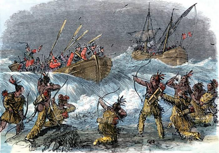 Индейцы против европейцев./Фото: https://www.britannica.com