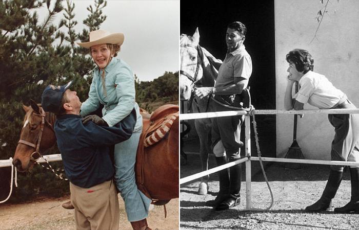 Рональд и Нэнси Рейган, конные прогулки