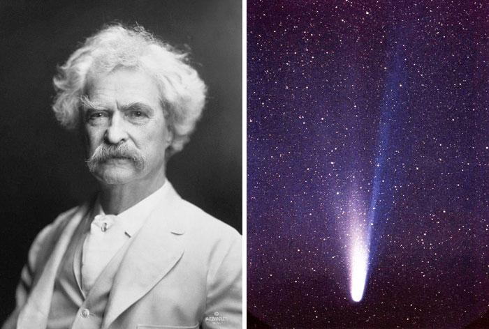 Марк Твен утверждал, что умрет с прилетом каметы Галлея. Так и случилось