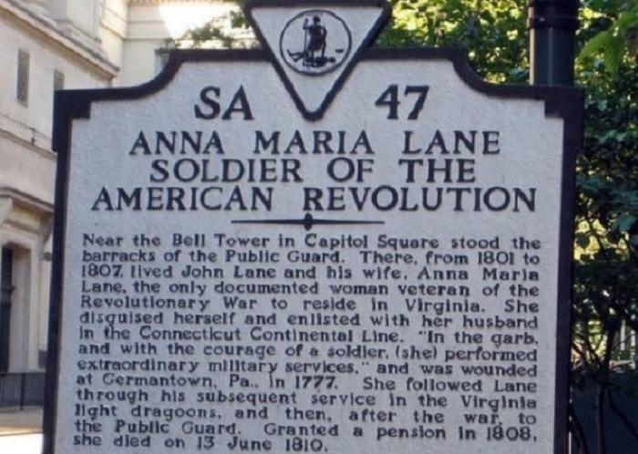 Памятная табличка, посвященная Анне Марие Лейн