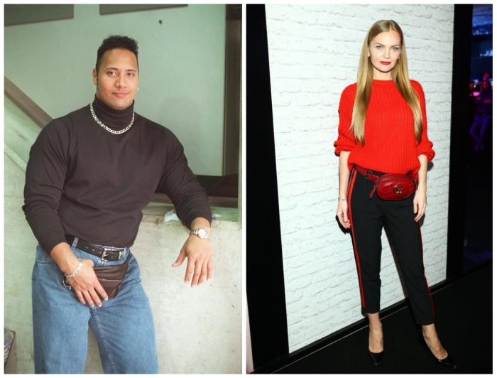 Вы не поверите, но слева с поясной сумкой молодой Дуэйн Джонсон. Слева модель Елена Кулецкая, которая умело сочетает аксессуар с основным ансамблем
