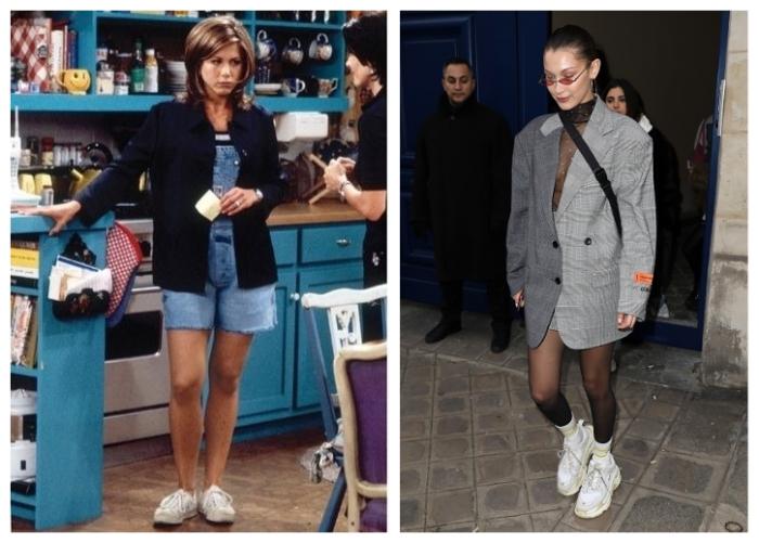 Дженнифер Энистон еще в 90-е годы была первой модницей. А Белла Хадид умеет сочетать массивные кроссовки хоть с чем