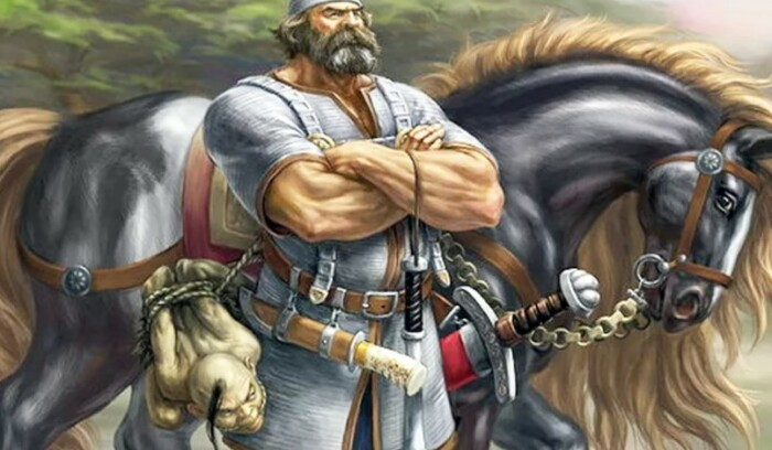 Илья обладал богатырским телосложением.