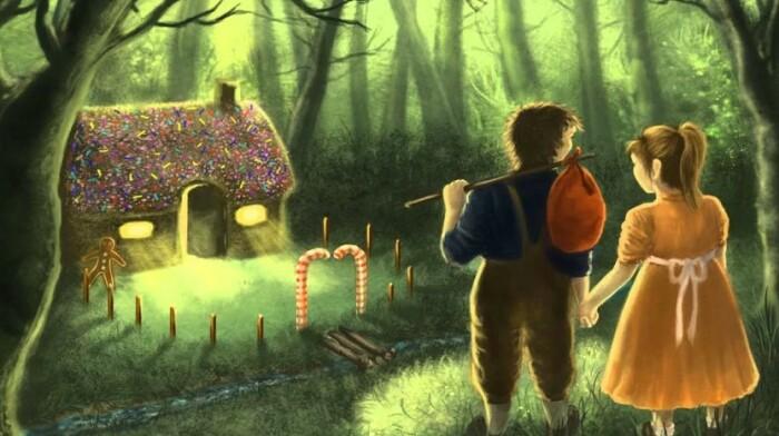 Дом из хлеба в лесу на который вышли дети.