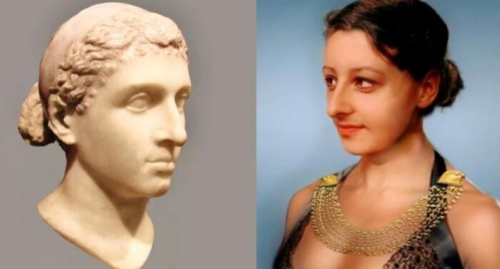судя по реконструкции лица, Клеопатра должна была выглядеть примерно вот так.