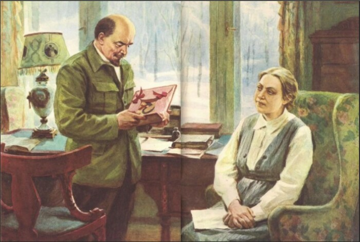 Даже на картинах Ленин выглядит веселым, а Крупская - озадаченной.